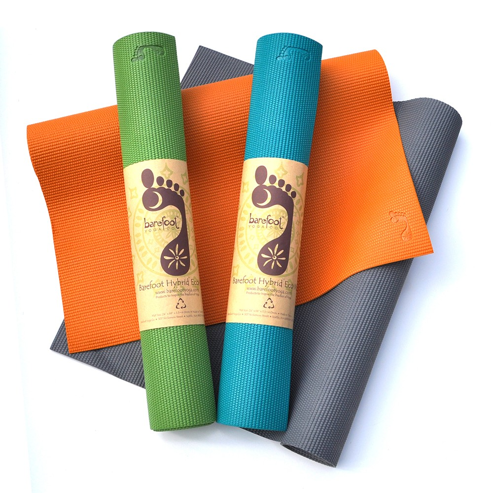 Barefoot Yoga Hybrid Eco-Lite Mat with mat strap