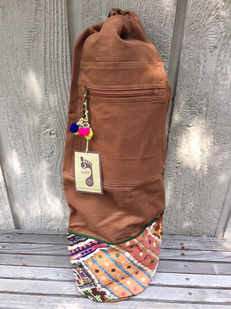 Cotton yoga mat bag with antique Indian fabric details