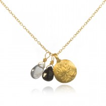 Gold Onyx & Labradorite Lotus Necklace - After the Storm