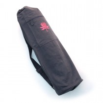 Cotton Canvas Yoga Mat Bag With Embroidered Lotus