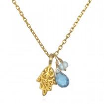 Gilded Hamsa Blue Topaz & Aquamarine Necklace