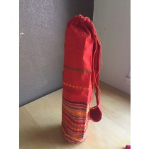 Deep Orange Yoga Mat Bag with Indian Embroidery