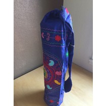 Blue Embroidered Mandala Yoga Mat Bag