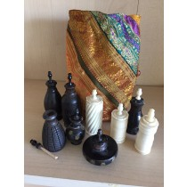 Hand carved Wood & bone essential oil/perfume bottles