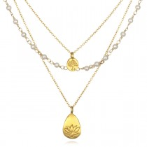 Gold Pearl Tree And Lotus Thrive Necklace
