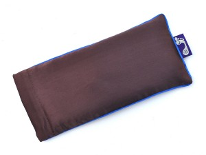 Chocolate Brown Eye Pillow (Blue Piping)