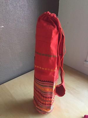 Deep Orange Yoga Mat Bag with Indian Embroidery