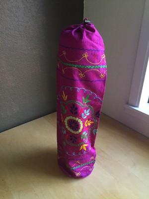 Purple Embroidered Mandala Yoga Mat Bag