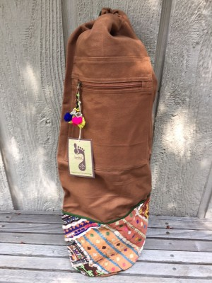 Cotton yoga mat bag with antique Indian fabric details