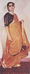 Woman Wearing Saree From a Wall Painting in Lepakshi in Andhra Pradesh 14th Century A.D.