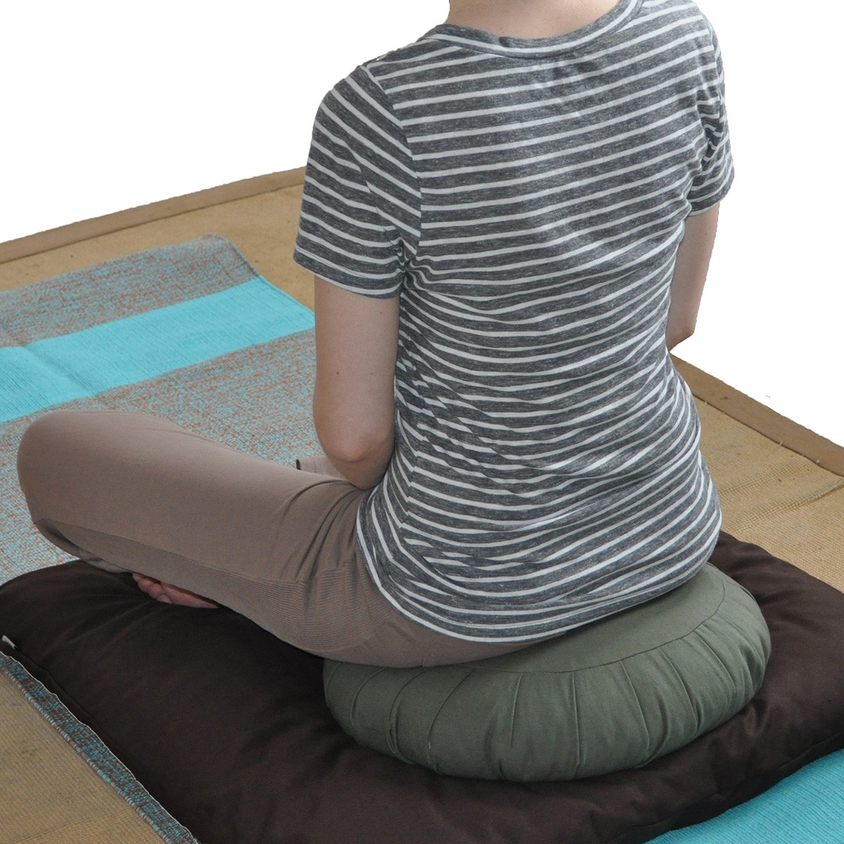 Silk Sari Zafu Meditation Cushion With Carry All Yoga Bag