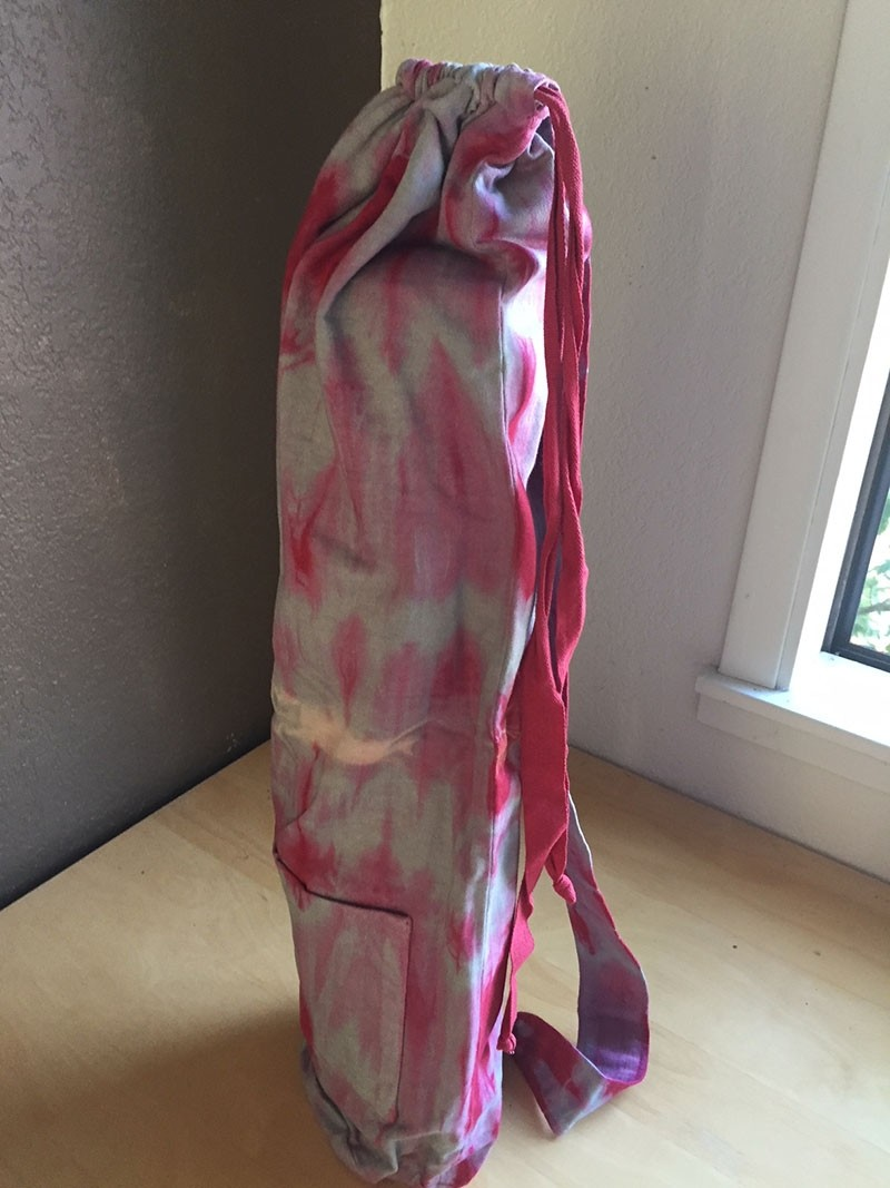 Red and Grey Cotton Jersey Tie Dye Yoga Mat Bag