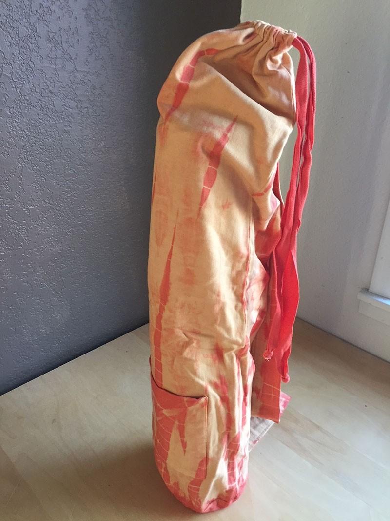 Peach Cotton Jersey Tie Dye Yoga Mat Bag