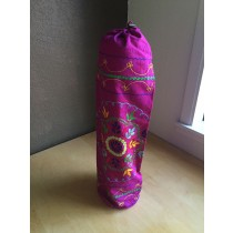 Purple Embroidered Mandala Yoga Mat Bag