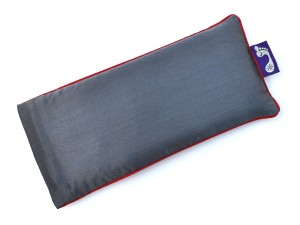 Charcoal Grey Eye Pillow (Burgundy Piping)